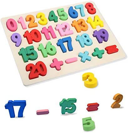 T Leaves Number Puzzles Wooden Preschool Learning Toy for Toddler 3 5 Years Old Perfect Toy product image