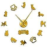 N/A Orologio da Parete Fai da Te Barboncini Toy Terrier Inglese Yorkshire Terrier Razze di Cani Misti Wall Art Home Decor Orologio da Parete Gigante Senza Cornice Fai da Te Orologio da Appendere