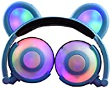 Lifestyle Kids Panda Headphones Bear Ear-Inspired LED, Wired On/Over Ear Gaming Headsets 85dB for Kids Tablet, iPad, iPhone, Android, PC (Blue)