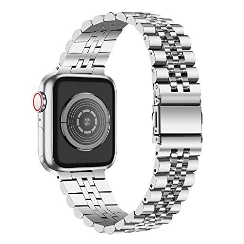AISPORTS Compatible con correa de reloj Apple de 44mm 42mm de acero inoxidable para mujeres y hombres,pulsera de metal sólido ajustable,correa de repuesto para Apple Watch SE/iWatch Series 6/5/4/3/2/1