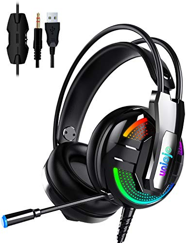 Gaming Headset,UNIOJO Stereo PS4 Headset,Xbox One Headset,Professional Gaming Headphones with Mic,Vibration Effect, LED Light, Noise Cancelling for PS4,PS5 Controller,Xbox One,PC,Laptop