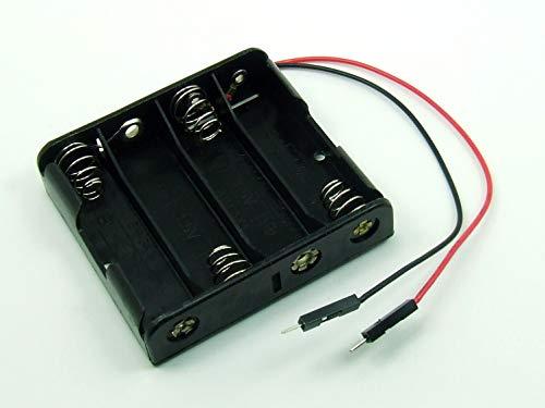 POPESQ® - Adaptador/Adapter Caja para Pilas Soporte Pilas/Battery Holder 4 x AA (R6) - BREADBOARD Conector Macho Dupont Compatible Arduino #A1263
