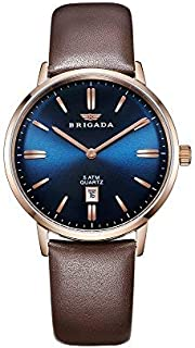 BRIGADA Men's Dress Watches for Men Business Casual Analog Men Watches Genuine Leather Waterproof with Date Calendar