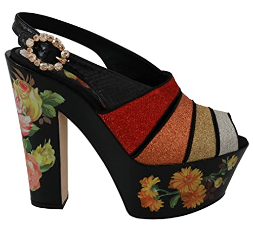 Dolce & Gabbana Floral Wedges Ankle Strap Sandals Shoes (numeric_9_point_5)