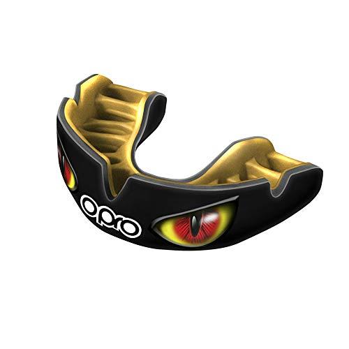 OPRO Power-Fit | Mouthguard Hecho a Mano para Adultos | Escudo de Goma para Rugby, Hockey, Lacrosse, Boxeo (10 años o más) (Ojos Negro/Dorado/Rojo)