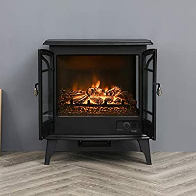 """Top Space 28"""" Electric Fireplace Heater Freestanding Space Heater with Realistic Flame Effect, 1400W Portable Fireplace Stove, Overheat Protection, Black"""