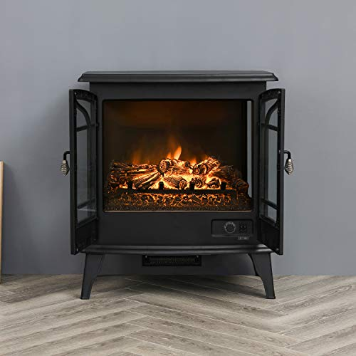 "Top Space 28"" Electric Fireplace Heater Freestanding Space Heater with Realistic Flame Effect, 1400W Portable Fireplace Stove, Overheat Protection, Black"