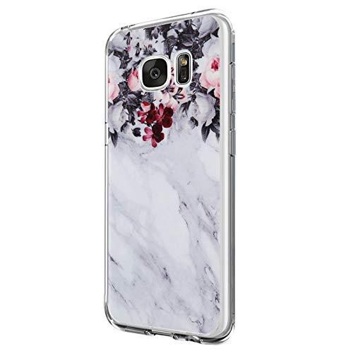 Riyeri Hülle Compatible with Samsung Galaxy S7 Edge Hülle Transparent TPU Silikon Bumper Schutzhülle Soft Handyhülle für Samsung S7 Edge - Blume Serie (4)