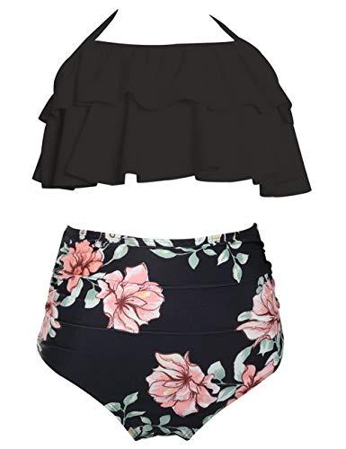 Echinodon Mädchen Bikini Set Zweiteiler Neckholder Bademode mit Rüschen Blumen Kinder Badeset Schwimmanzug Schwarz 164