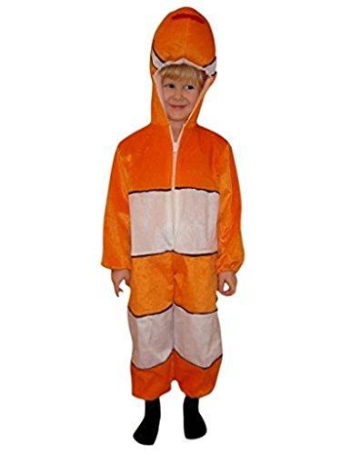Seruna Disfraz de pez J22, tallas 98-104, para niños, disfraz de pez payaso, carnaval, para niños, regalo de cumpleaños o Navidad