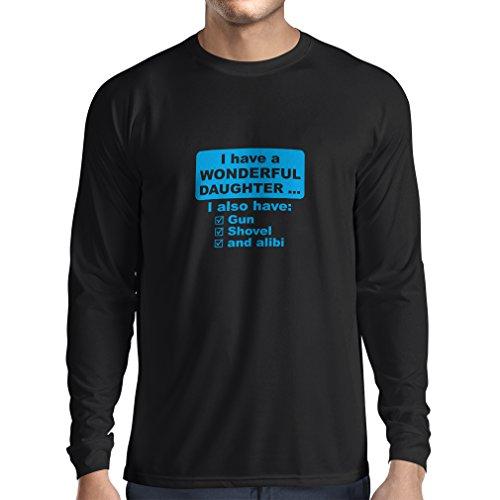 lepni.me T-Shirt Manches Longues Homme J'Ai Une Fille Merveilleuse, Arme à feu, Pelle, Alibi, Cadeau d'humour (XX-Large Noir Bleu)