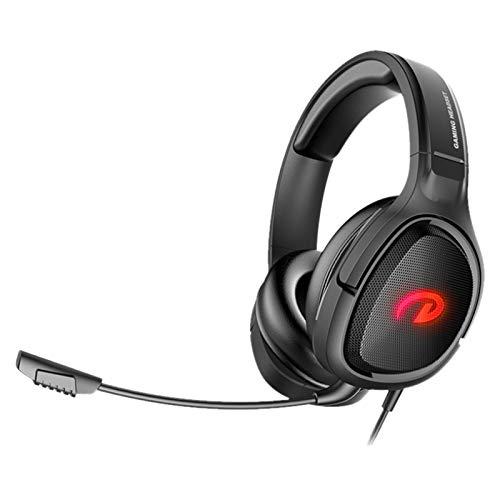 Camisin G100 - Auriculares de diadema estéreo con micrófono con cancelación de ruido y luz LED, para PS4 One Laptop Smart Phone