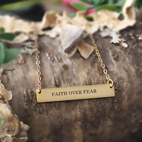 FUKAI Letter Pendant Necklace Clavicle Gold Chain Charm Necklace Inspirational Quotes Men And Women Jewelry Gifts (Color : Gold)