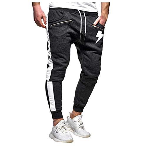 EUCoo-Homme Épissage Salopette Imprimée Casual Pocket Sport Work Pantalon Pantalon Décontracté(Gris Foncé,M)