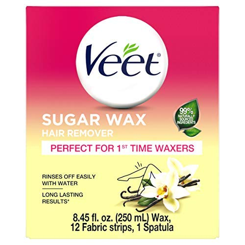 VEET Sugar Wax Hair Remover - Perfect for First Time Waxers - Contains 12 Fabric Strips & 1 Spatula with a Temperature Indicator