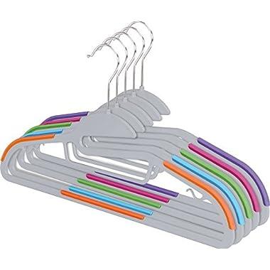 Zoyer TPR Plastic Hangers (30 Pack) Multifunctional Light-Weight Hangers Premium Quality S-Shape Non-Slip Suit & Shirt Hangers With Tie Bar, Strap Hooks, 360 Chrome Swivel (Multi Color Grey)