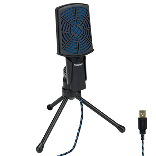 ENHANCE USB Condenser Microphone Gaming Mic - Computer Desktop Mic for Streaming & Recording with Adjustable Stand and Mute Switch - for Skype, Conference Calls, Twitch, YouTube, and Discord - Blue