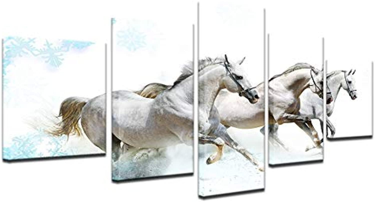 Animal Canvas Painting HD Printed Horse Wall Home Decor for Living Room 5pcs Modular Arts Pictures Landscape