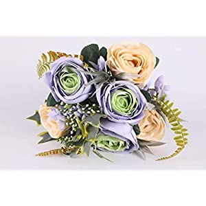Lynn Co Springs Flowers Artificial Silk Rose Bouquets Wedding Home Decoration 1 Pack (Purple-White)