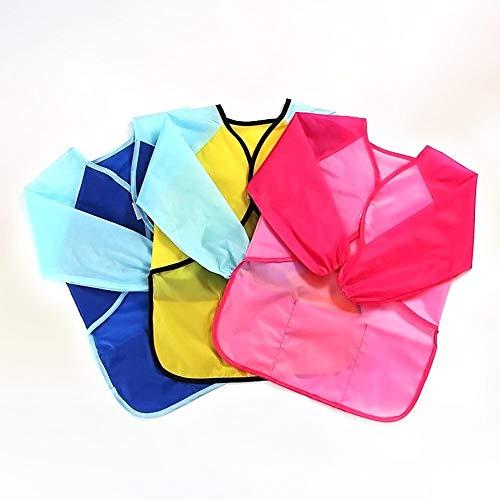 Plástico Mancha De Aceite Anti-grasa Personalizar Delantales impermeables Kids Art Smocks de 3 piezas for niños con mangas largas y 3 bolsillos for trabajos de bricolaje, artesanía, Cocción y laborato