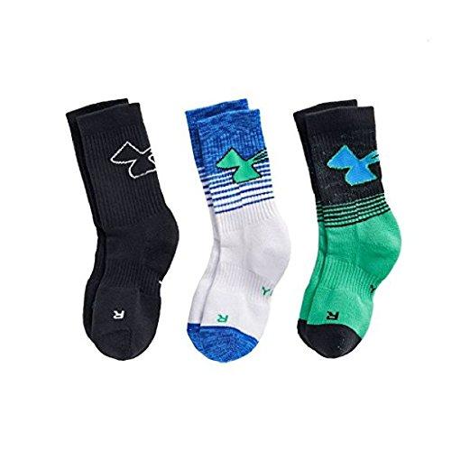 Under Armour Boy`s UA Phenom Crew Socks 3 Pack (Youth Small (Youth Shoe Size 13.5K - 4Y), University Red (UL399) / White/Black)