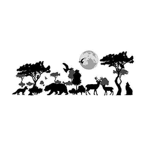 Woodland Arts 35 inches x 14 inches Safari Jungle Wild Wolves Bears Elk Crows Animals Silhouette Trees Moon Vinyl Wall Decals Stickers for Children Rooms Nursery Bedrooms