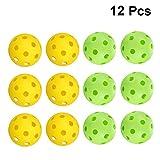 BESPORTBLE 12 Pcs Golf Practice Balls Lightweight Plastic Hollow Holes Golf Training Balls Golf Game Balls Bright Color