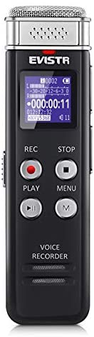 EVISTR 16GB Digital Voice Recorder Voice Activated Recorder with Playback – Upgraded Small Tape Recorder for Lectures, Meetings, Interviews, Mini Audio Recorder USB Charge, MP3