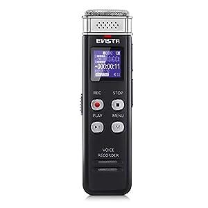 Grabadora digital EVISTR de 16GB activada por voz con reproducción - Dictafono de cinta pequeña actualizado para conferencias, reuniones, entrevistas, reproductor de MP3 con carga mini USB
