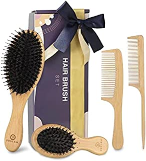 برس موی مرطوب و شانه مو-برس طبیعی موی بامبو Bristles Boars Detangler برس موی بلند بلند ضخیم و نازک فرفری موج دار ، برس پارویی برای مردان زنان بچه ها (4 عدد)