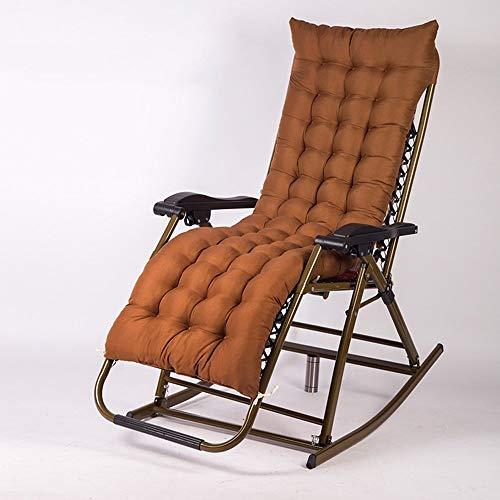 LIX-XYD Liege Schaukelstuhl/Klappstuhl/Lunch Stuhl // verstellbar Gartenliegen Liegestuhl/Balkon Stuhl/Liegestuhl/Alter Stuhl/Removable Wattepad (Farbe: rot) (Color : Brown)