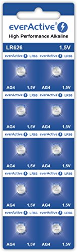 everActive AG4 1.5V, 10x Batterien, Alkaline, Mini, G4 LR626 LR66, 5 Jahre Haltbarkeit, 10 Stück – 1 Blisterkarte