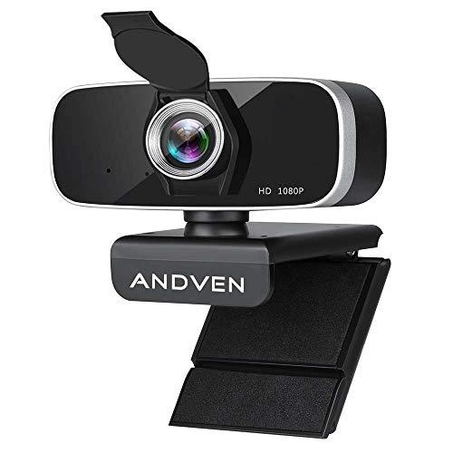 Andven Webcam 1080P Full HD con Micrófono Estéreo y Cubierta de Privacidad, Webcam Portátil con USB Plug-and-Drive para PC Video Chat, Juegos y Grabación, Compatible con Windows, Mac y Android