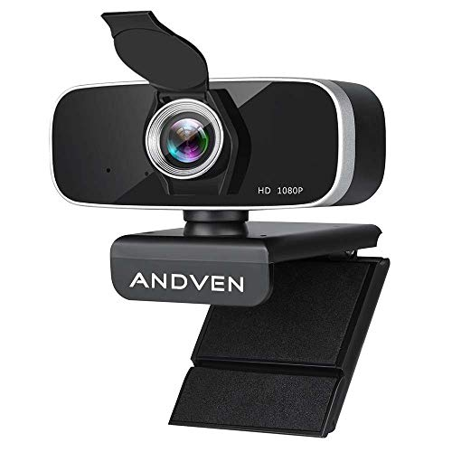 Andven Webcam 1080P Full HD con Micrófono Estéreo y Cubierta de Privacidad, Webcam Portátil con USB Plug-and-Drive para PC Video Chat, Juegos y Grabación, Compatible con Windows, Mac y Android