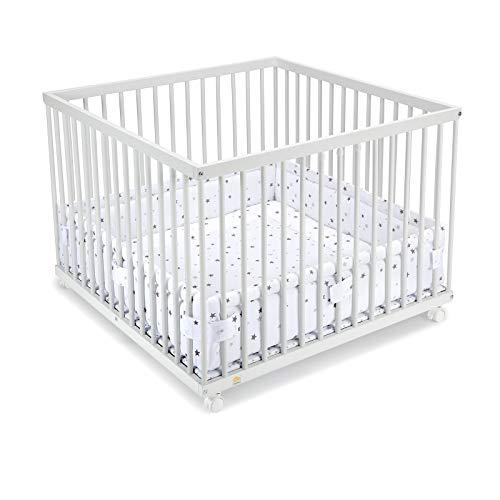 FabiMax Laufgitter 100x100 cm mit Laufgittereinlage graue Sterne auf weiß, stufenlos höhenverstellbar, Parkettrollen, Buche, weiß lackiert