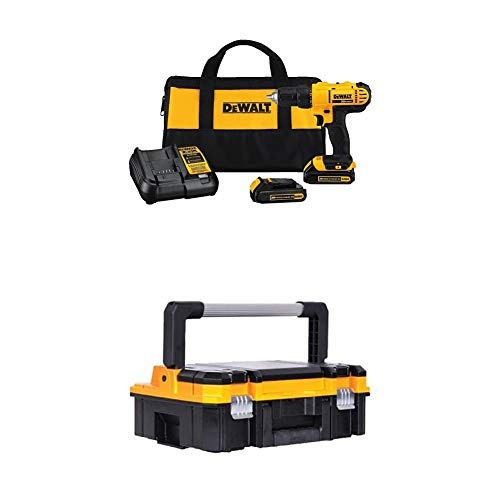 Dewalt DCD771C2 20V MAX Cordless Lithium-Ion 1/2 inch Compact Drill Driver Kit with TSTAK I Long Handle Toolbox Organizer