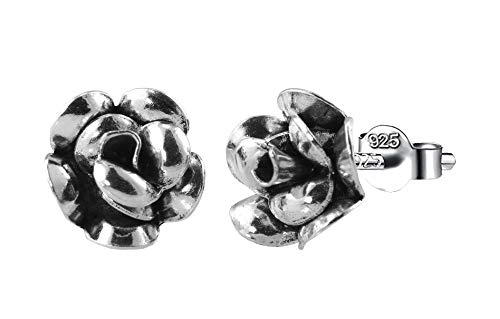 PAPOLYPendientes de Flor Rosa 14mm, PLATA DE LEY 925, Gratis Gamuza limpia plata 25x10cm y Caja de regalo.