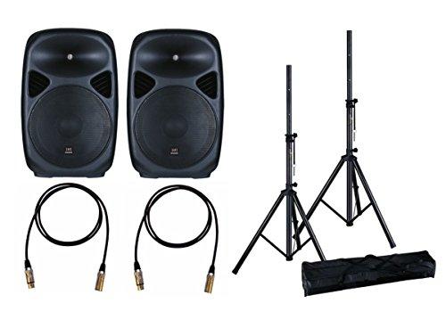 """Impianto Audio Acustico con Coppia Altoparlanti Casse Attive Amplificate 800W con Woofer da 12"""" con Coppia di Stativi Aste con Borsa e 2 Cavi XLR da 6 mt."""