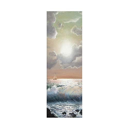 Pegatinas de nevera para cubrir puertas completas, 3D, vela solitaria en el mar, adhesivo autoadhesivo para puerta de refrigerador, papel pintado de vinilo profesional, 60 x 180 cm (1 unidad)