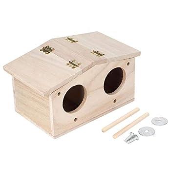 Maison d'oiseau, nid d'oiseau durable en bois pour animaux de compagnie Maison d'élevage Accessoires pour cage à oiseaux avec porte à deux trous pour perroquets hirondelles oiseaux et autres animaux