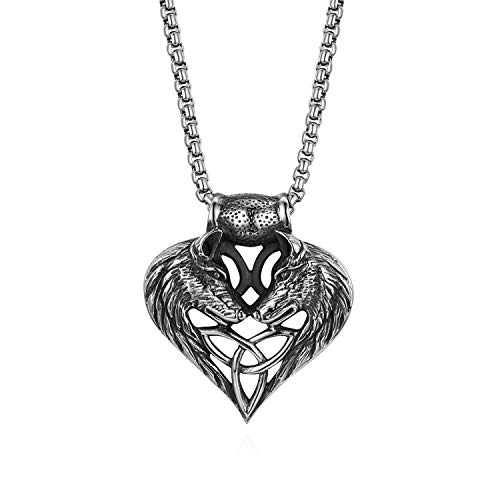 Cupimatch Wolf Head Heart Celtic Knot Amulet Pendant Necklace Chain Jewelry 22'