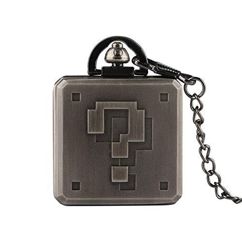 WMYATING Exquisito, hermoso, elegante y único diseño Steampunk Square Big Question Mark Diseño Reloj de bolsillo Forma de caja para hombres Regalos