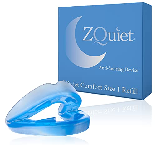 ZQuiet Anti-Snoring Mouthpiece Solution, Comfort Size #1 (Single Device, No Storage Case) - Made in USA & FDA Cleared, Natural Sleep Aid, Dentist Designed Oral Appliance (Blue)