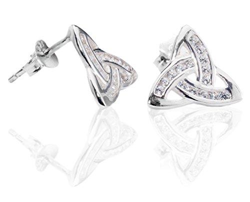 DTPsilver -Damen - Ohrringe 925 Sterling Silber mit klein Zirkon Keltisch Design Ohrstecker