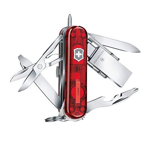 Victorinox 4.6336.TG32 Taschenmesser Midnite Manager Work (11 Funktionen, Schere, USB Stick 32GB, Schraubendreher), rot transparent, 32 GB