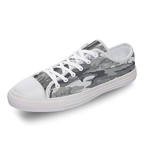 Low Top Canvas Sneakers Comfort Shoes, Camouflage with Animal Pattern, 9.5women