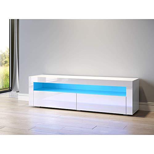 Sonni TV Schrank TV Lowboard LED Weiss,12-LED-Farben,Fehrnser Tisch 154 cm breit