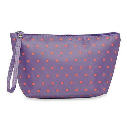 NFI essentials Polka Print Makeup Pouch for Women Stylish Pouch for Makeup Accessories Travel Organiser Cosmetic Pouches Make up Pouch for Girls Makeup Bag Vanity Bag (Purple)
