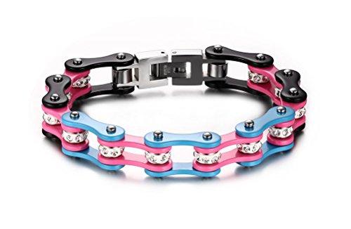 Vnox Bracciale a catena pesante Acciaio Uomo Bike gioielli per gli uomini,rosa,blu e nero