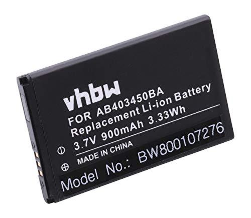 vhbw Li-Ion Akku 900mAh (3.7V) für Handy Handy Smartphone Samsung GT-S3550 Shark3, GT-S5050, GT-S5050 AllureS wie AB403450BA, BEX279HSA, u.a.